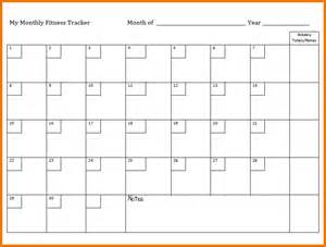 Month Calendar Template by Calendar Month Template Monthly Workout Calendar Template