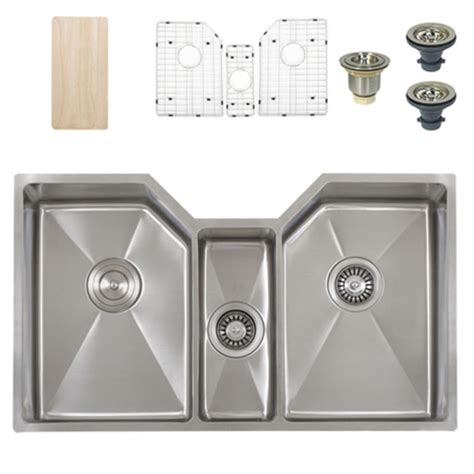 kitchen sink accessories ticor tr1500 undermount stainless triple bowl square