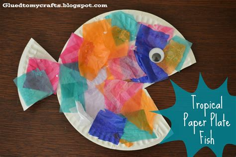 Craft Paper Plates - tropical paper plate fish craft glued to my crafts