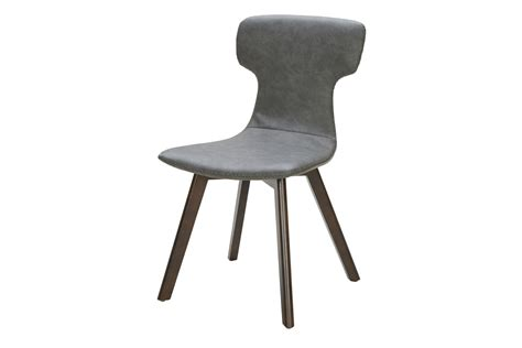 zach modern grey eco leather dining chair set of 2
