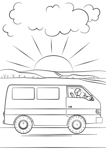 coloring page of a van traveling in a van coloring page free printable coloring