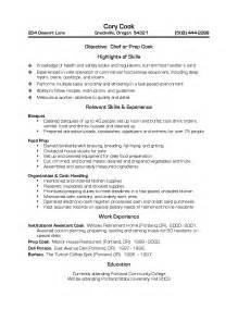 resume sles for cooks resume sles