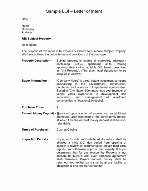 letter of intent to purchase real estate template letter of intent to purchase real estate template exles
