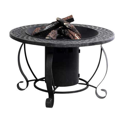Shop Garden Treasures 29 92 In W 20 000 Btu Charcoal Steel Lp Gas Firepits
