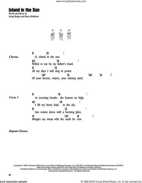 ukulele tutorial island in the sun belafonte island in the sun sheet music for ukulele chords