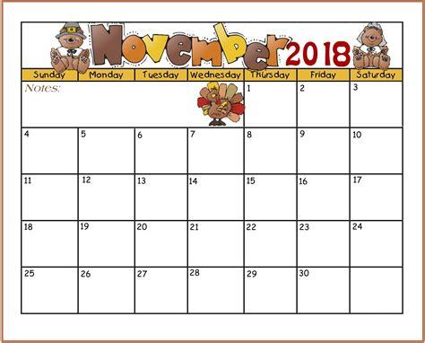 2018 November Calendar Printable