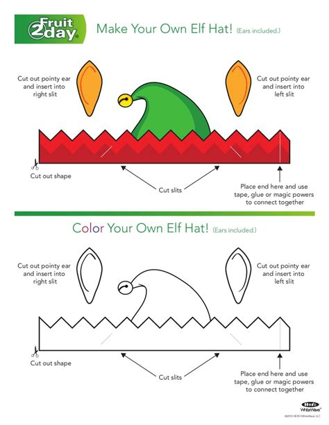 printable elf parts elf hat click here to print elves household and template