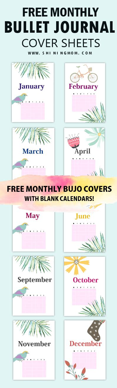 printable monthly journal covers 12 beautiful monthly bullet journal cover pages free