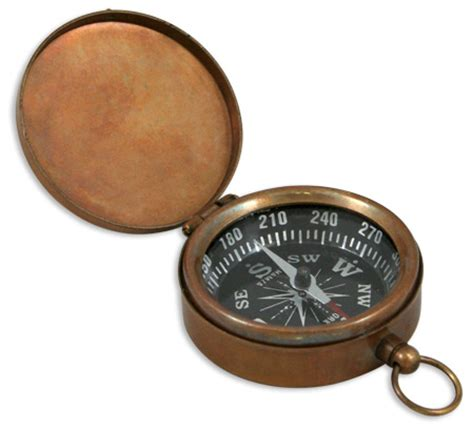 Kompas By Shops antique brass pocket compass with hinged lid