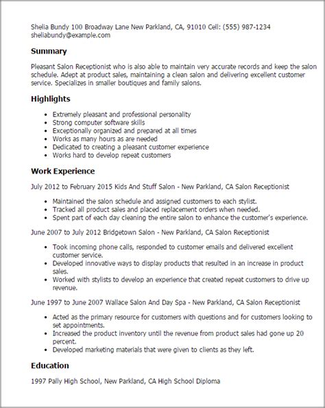 Resume Sles For Receptionist In Salon resume sles for receptionist 28 images 32 best images