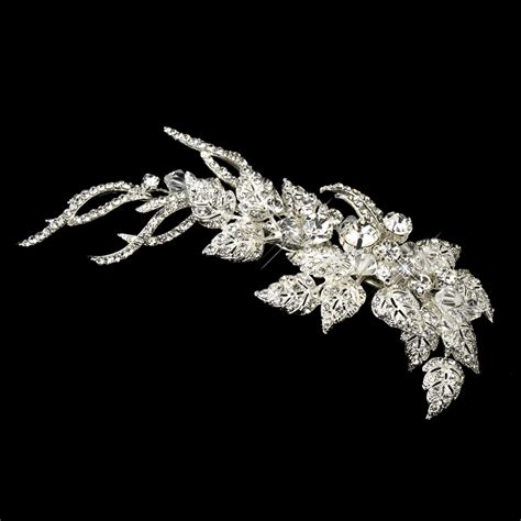 rhinestone silver leaf hair clip bridal