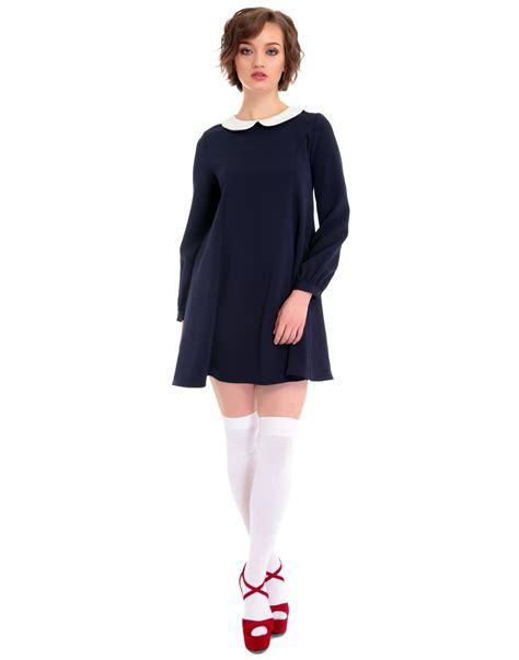 Nia Dress bright beautiful nia 1960s mod sleeve dress in navy