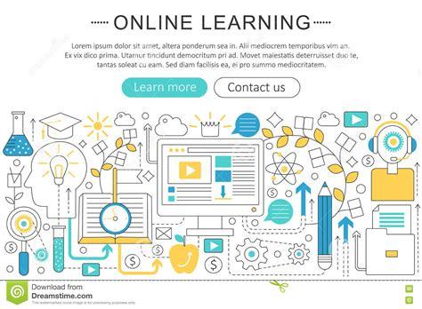 design online learning vector elegant thin line flat modern art design e learning