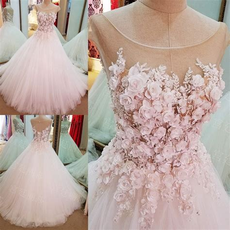 lolipromdress review flowers ball gown lace up luxury cap sleeves wedding dress