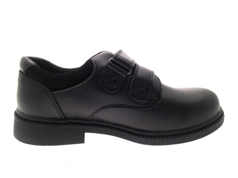 boys black leather school shoes lace up slip on