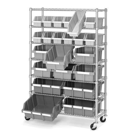 Rolling Shelf Rack by 7 Shelf 22 Bin Rack Storage Shelving Rolling Wheels