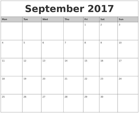 printable monthly calendar starting monday september 2017 monthly calendar printable