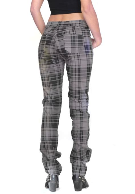 grey patterned skinny jeans grey tartan checked plaid skinny slim fitted stretch pants