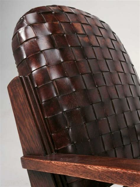 hand woven leather club chair  ottoman   stock