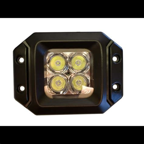 Lu Led Cree 20 Watt 20 Watt Led Light Pair Flange Mount With Flood Pattern Cree E2 Pair Harness Included