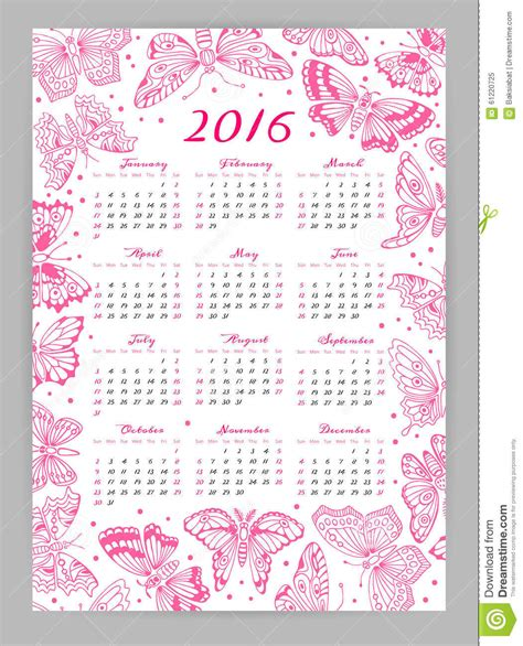 decorative calendar template calendar 2016 year with decorative butterflies stock