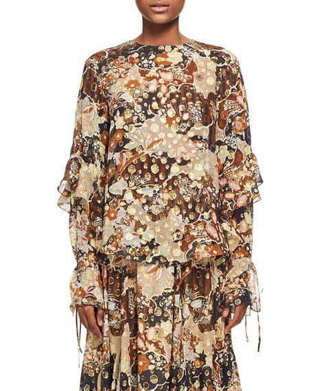 brown pattern blouse chloe deco cloud jacquard blouse brown pattern