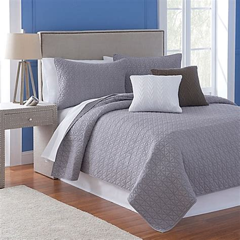 bed bath and beyond flatiron buy flatiron homes madison reversible full queen quilt in frost grey from bed bath