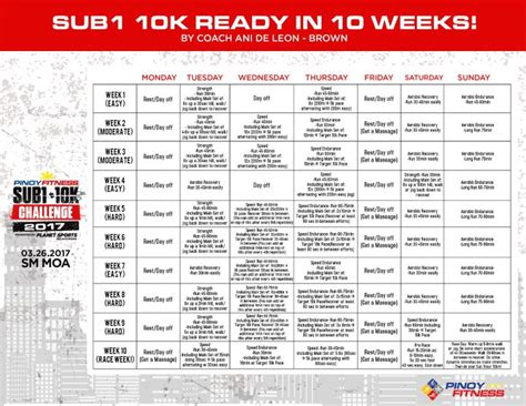 couch 10k 10 weeks pf sub 1 10k ready in 10 weeks by coach ani de leon