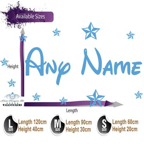 personalised name wall stickers uk personalised wall sticker name with disney style children room nursery x ebay