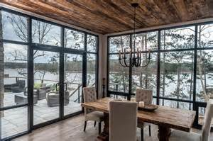 ceiling window contemporary cabin dining room with floor to ceiling windows contemporary dining room