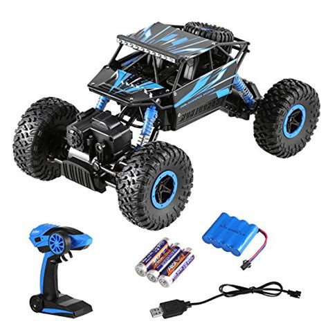 Rc Rock Crawler 4wd 2 4 Ghz Blue Black arshiner 2 4ghz 4wd rc rock crawler rechargeable battery shock proof high speed racing cars 1 18