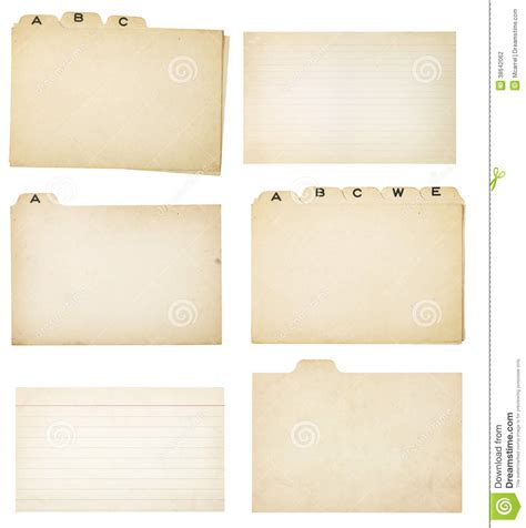 index card tabs template set of six vintage tabbed index cards stock photography