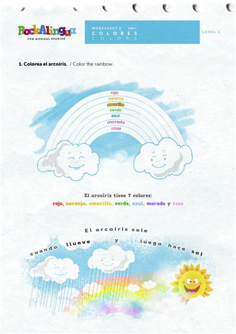 spanish rainbow coloring page 60 best images about spanish colors on pinterest spanish