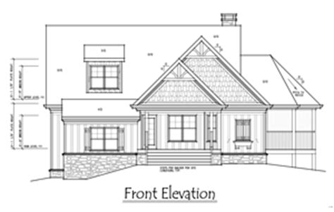 1 Story 3 Bedroom House Plan Oak Mountain Cottage Building Plan And Front Elevation