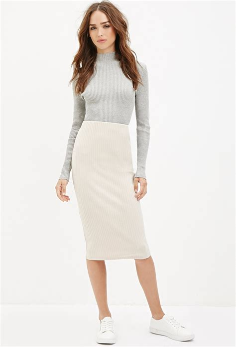 knit skirt forever 21 ribbed knit midi skirt in white vanilla lyst