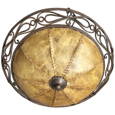Hide L Shades by Early 20th Century Vintage Wrought Iron Pendant Ceiling