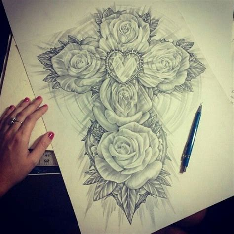 tattoo drawer app quot rose cross quot pencil drawing by latishawood on instagram