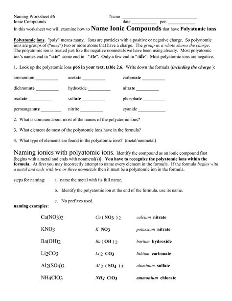 Ions Worksheet by 11 Best Images Of Naming Molecular Compounds Worksheet