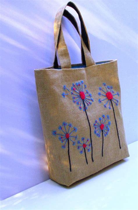 Handmade Bag dandelion handmade unique jute tote handbag artistic