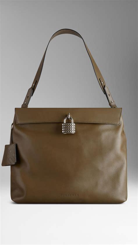 Burberry Studded Hobo by Burberry Large Studded Padlock Leather Hobo Bag In Khaki