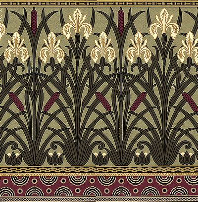 design era art nouveau victorian floral wallpaper fenway iris frieze bradbury