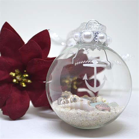 anchor etched glass ornament coastal christmas beach