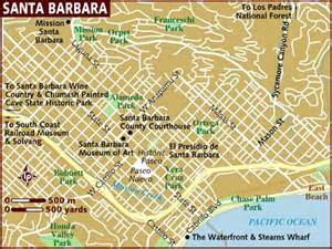 santa barbara on map of california tourist map of santa barbara city on usa images images