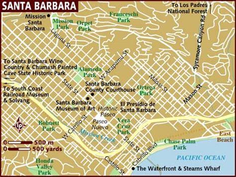 santa barbara map tourist map of santa barbara city pictures california map cities town pictures