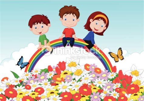 imagenes animadas felices ni 241 os felices de dibujos animados de estar rainbow en flor