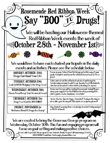 halloween themes for red ribbon week rosemeade elementary red ribbon week activities red