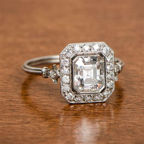vintage style engagement ring emerald cut by