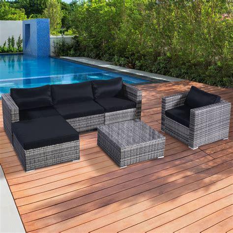 6PC Furniture Set Aluminum Patio Sofa PE Gray Rattan Couch