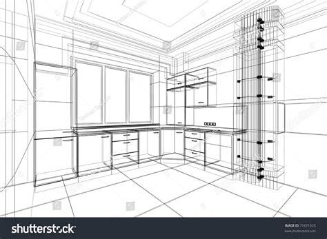 sketch to design a 3d kitchen abstract sketch design interior kitchen stock illustration