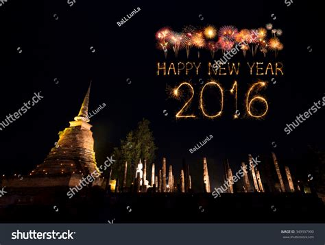 2016 happy new year fireworks celebrating over sukhothai